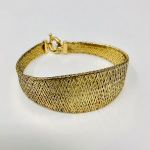 Jewelry - Sterling, gold overlay mesh bracelet, Italy, 11.8g